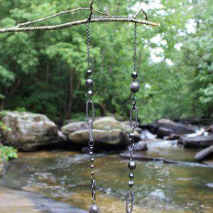 Jewelry - [5/$25]Long Black Metal Metallic Gunmetal Necklace